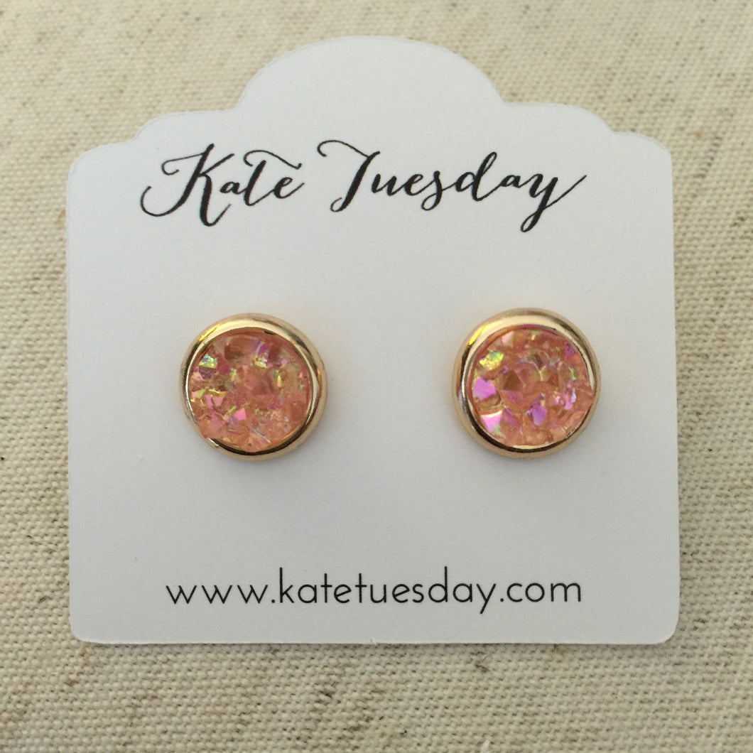 Pink Dazzle Round Druzy Earrings