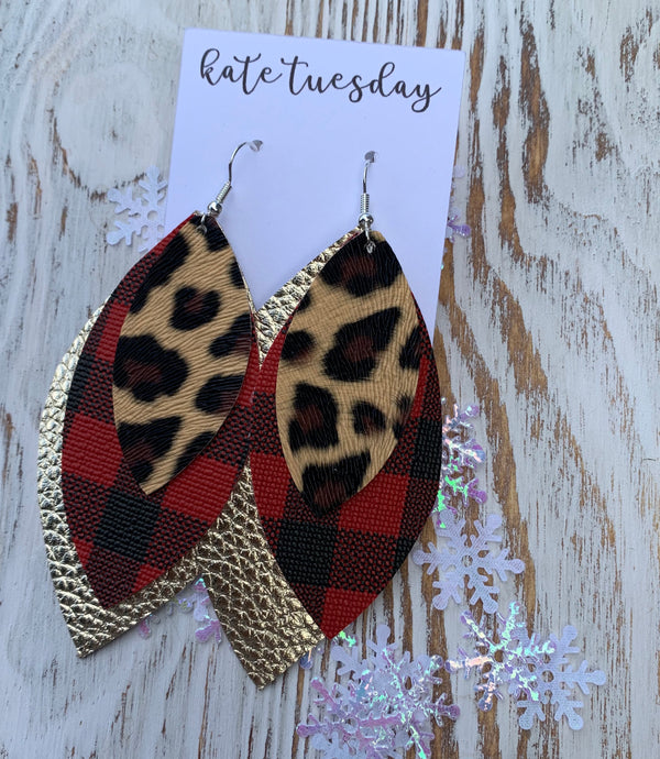 Plaid Buffalo Gold Cheetah 3 Layer Leather Hang Earrings