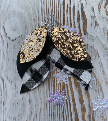 White Black Plaid Glitter Cheetah 3 Layer Leather Hang Earrings
