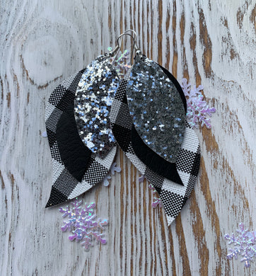 White Black Plaid Silver Glitter Cheetah 3 Layer Leather Hang Earrings