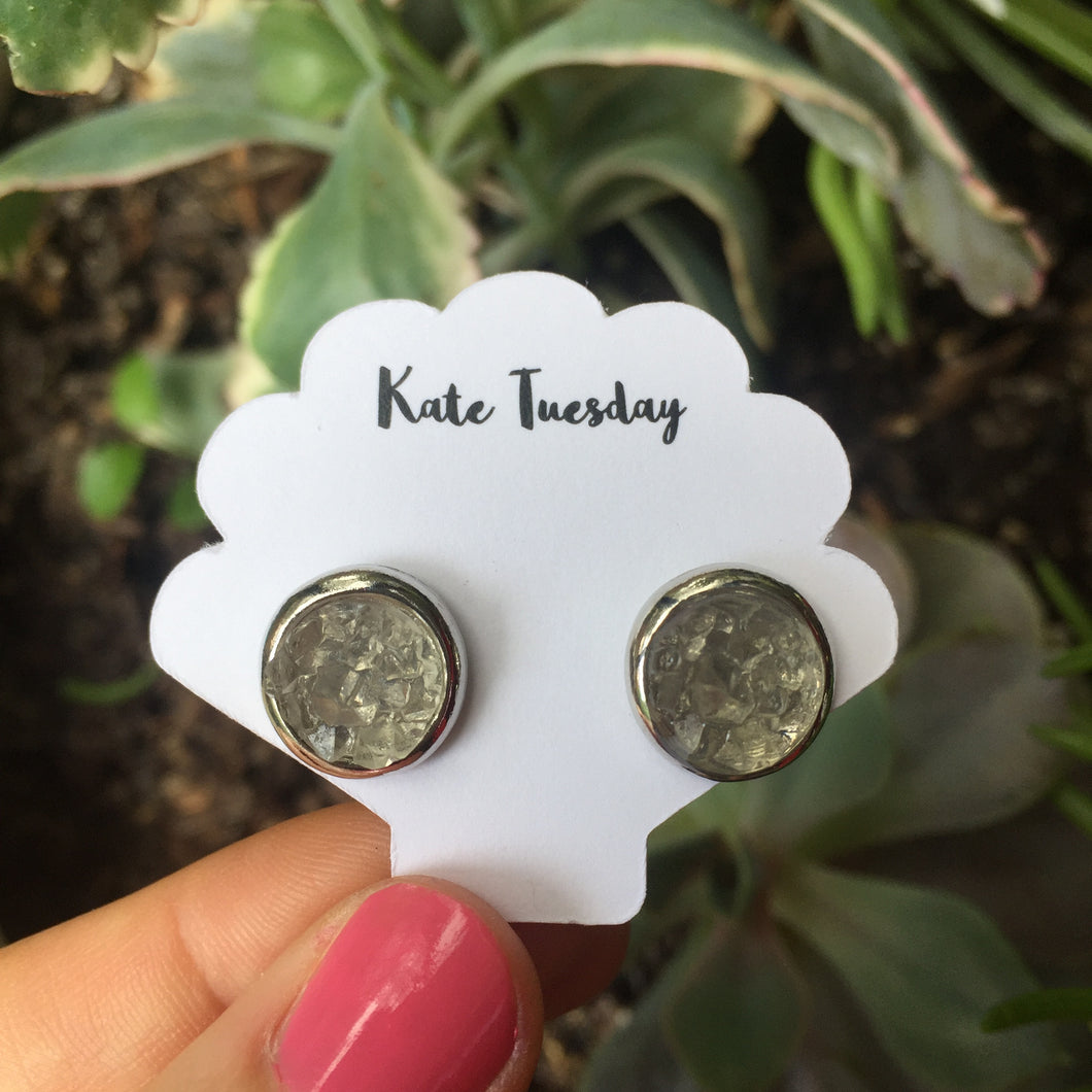 Kate Grey + Silver Druzy Circular Earrings