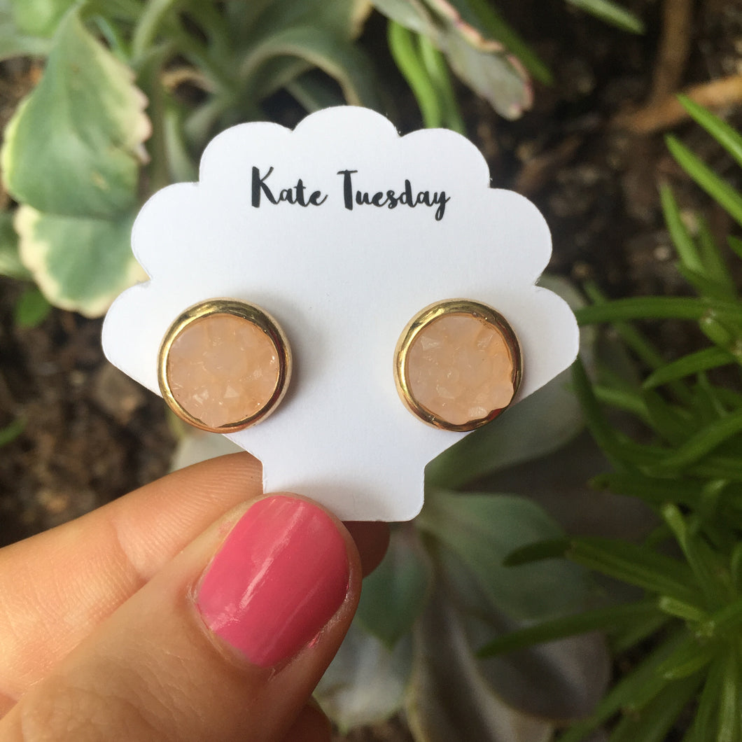 Kate Light Pink + Gold Druzy Circular Earrings