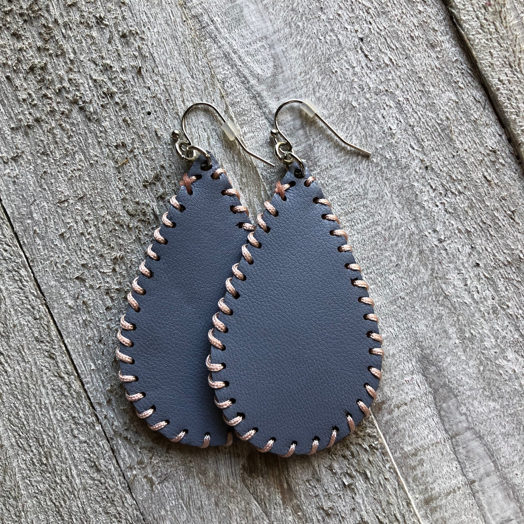 Blue Light Leather Stitched Earrings