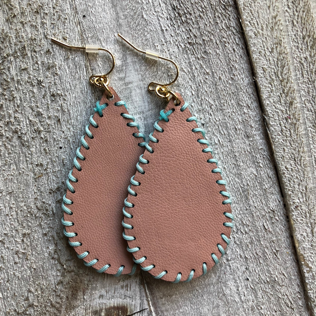 Pink Peach Light Leather Stitched Earrings