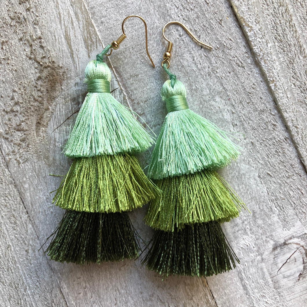 Spring Tassel Earrings Green