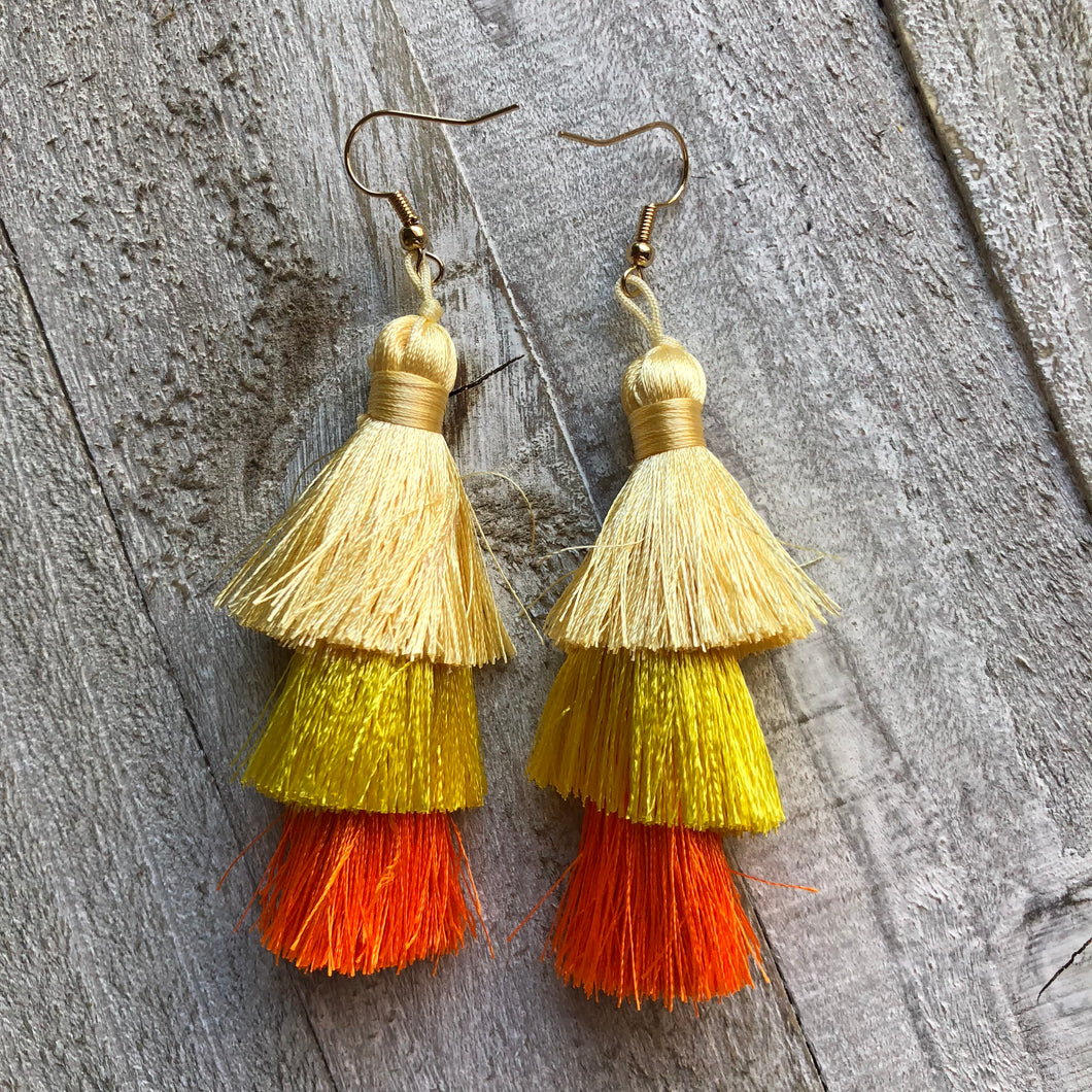 Spring Tassel Earrings Mustard