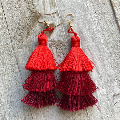 Spring Tassel Earrings Reds