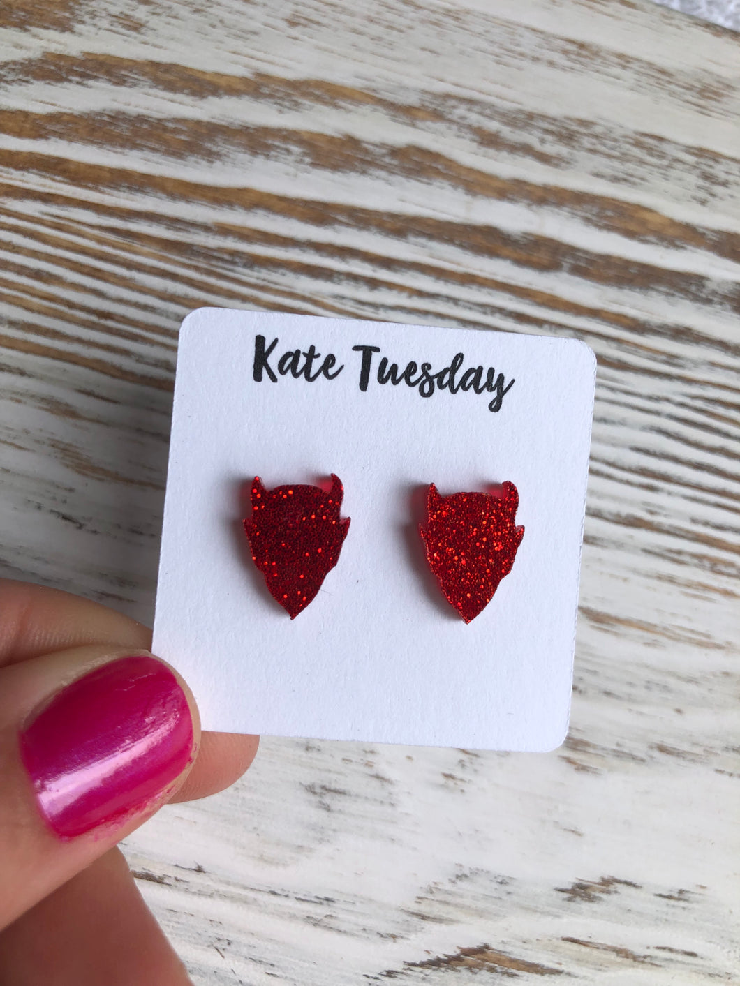 Red Devils Head Sparkly Stud Acrylic Earrings
