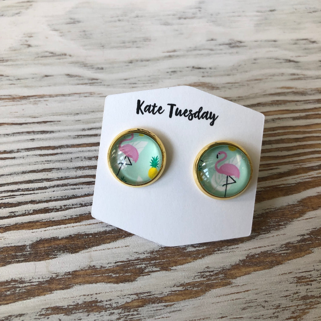 Summer Green Flamingo Stud Earrings