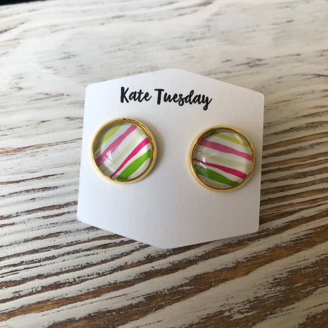 Summer Stripes Stud Earrings