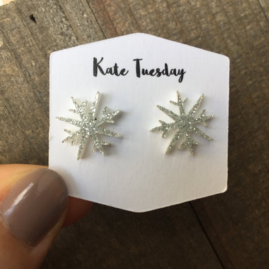 Sparkly SnowFlake Stud Acrylic Earrings
