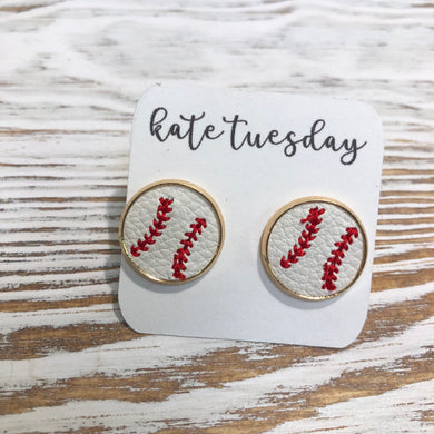 Baseball Leather Embroidered Stud Earrings 14mm