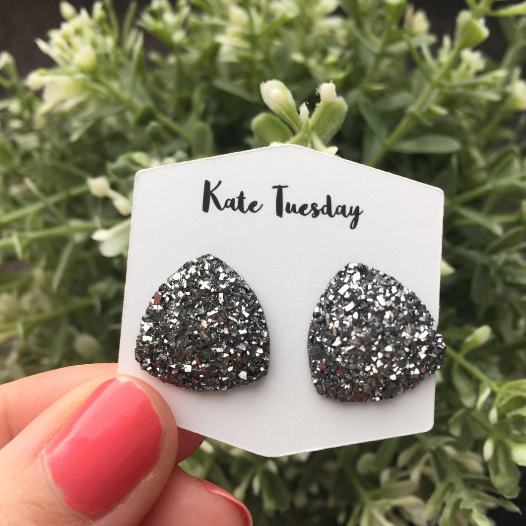 Large Charcoal Triangle Druzy Earrings