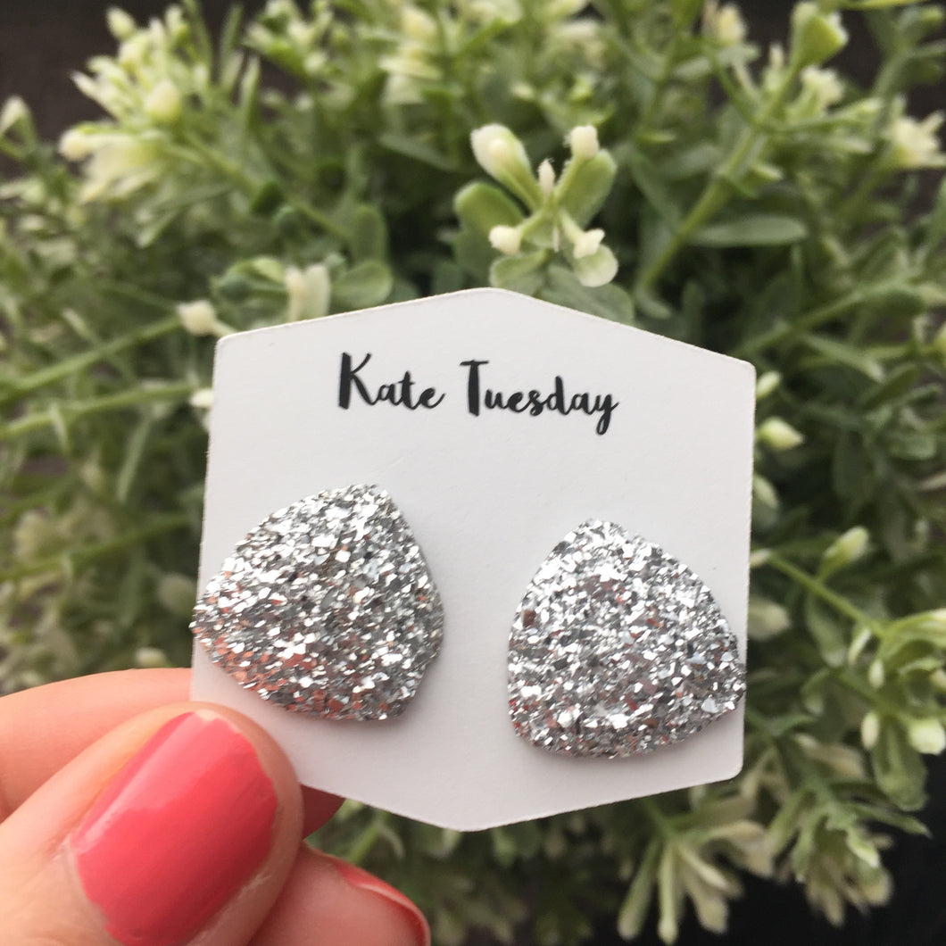 Large Silver Triangle Druzy Earrings