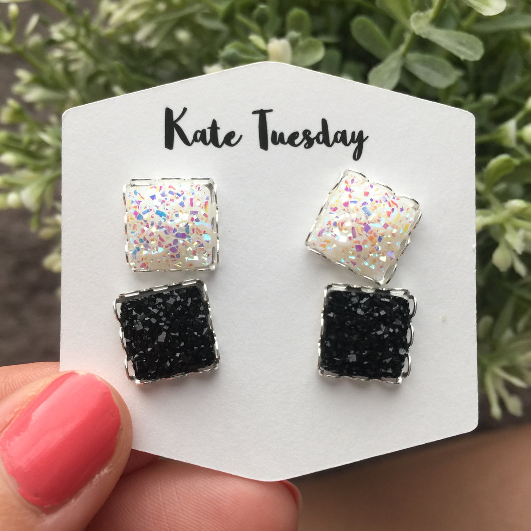 Double White + Black Druzy Earrings