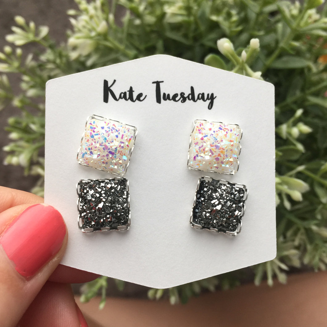 Double White + Charcoal Druzy Earrings
