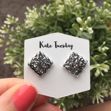 Charcoal Square Druzy Earrings