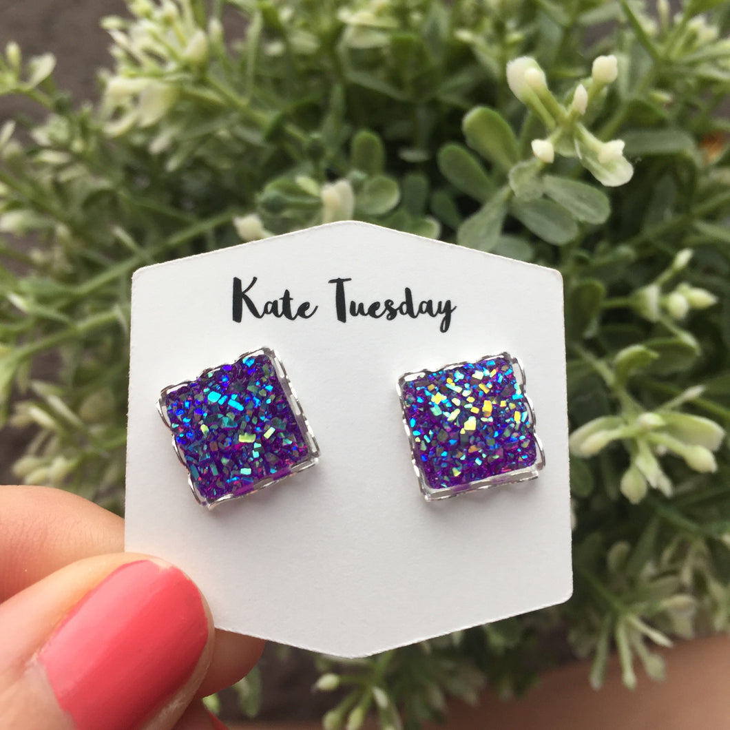 Purple Square Druzy Earrings