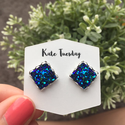 Blue Square Druzy Earrings