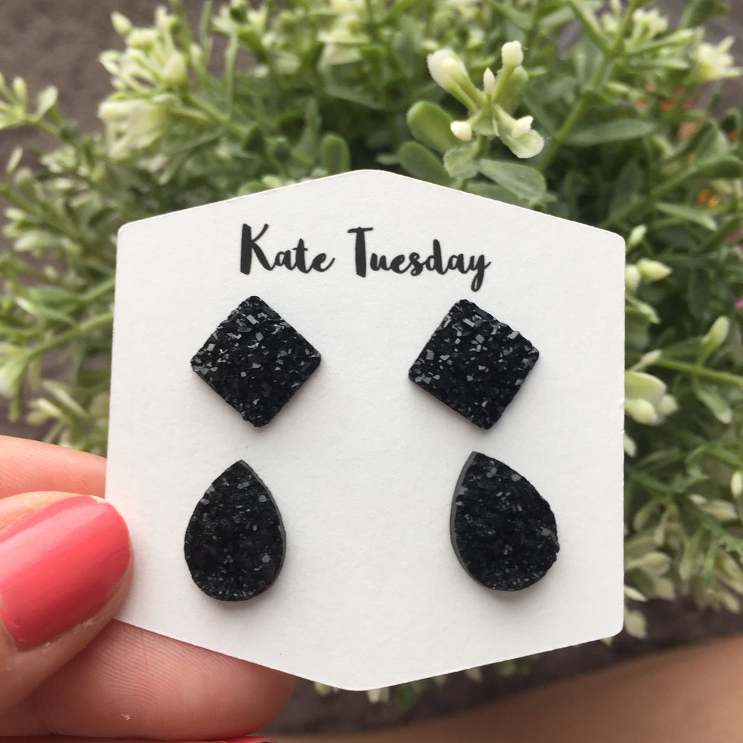 Double Black Teardrop + Black Square Druzy Earrings