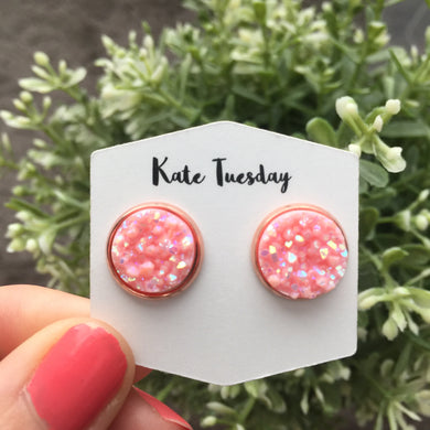 Light Pink Pop Druzy Earrings