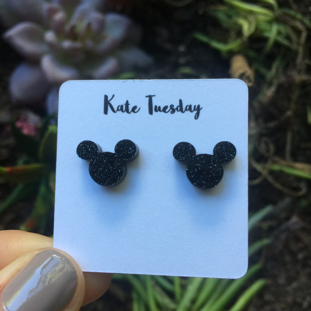 Black Boy Mouse Stud Acrylic Earrings