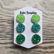 Neon Summer Greens Druzy Triple Set of Earrings
