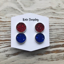 Red and Blue Druzy Double Set of Earrings 4th of July