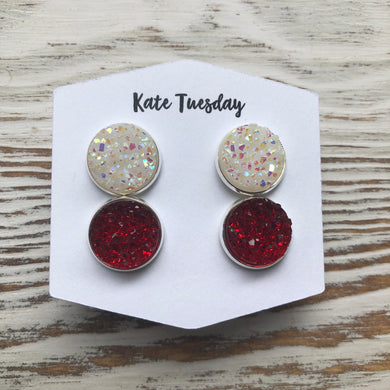 White and Red Druzy Double Set of Earrings 4th of July