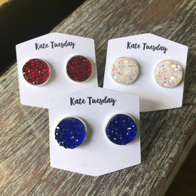 Single 4th of July, Red, White, Blue Druzy 12mm Earrings