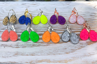 Neon Summer Druzy Dangly Earrings