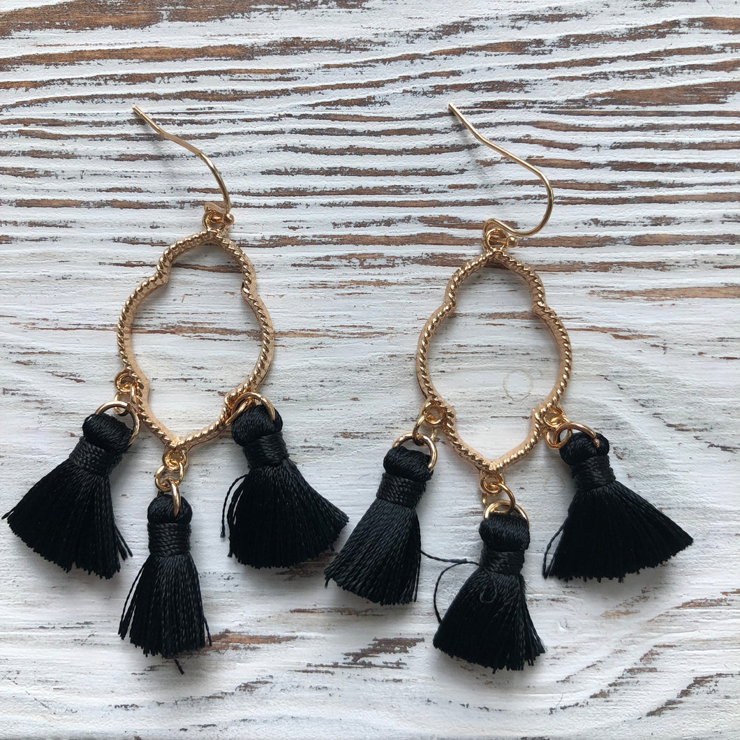 Black Ava Gold Tassel Drop Hoop Earrings