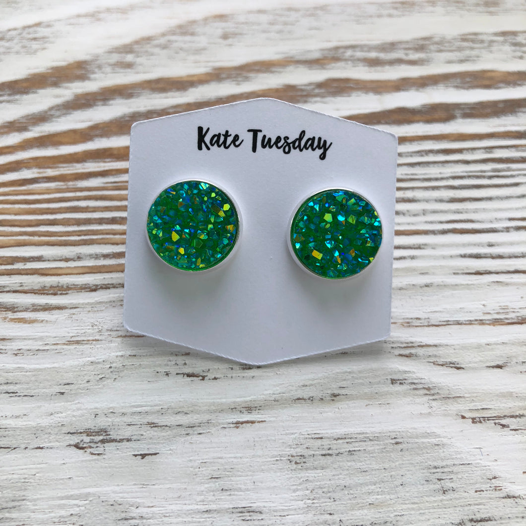Green Grass Sparkle Druzy Earrings