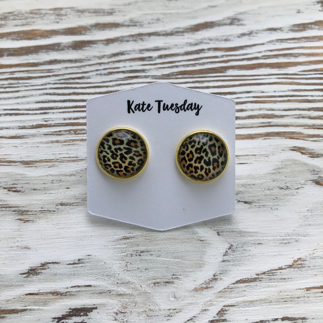 Cheetah Druzy Earrings leopard animal print