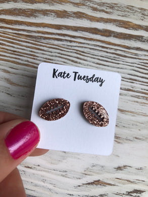 Rose Gold Football Sparkly Stud Acrylic Earrings
