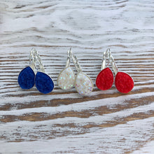 Patriotic 4th of July, Red, White + Blue Druzy Dangly Teardrop Earrings