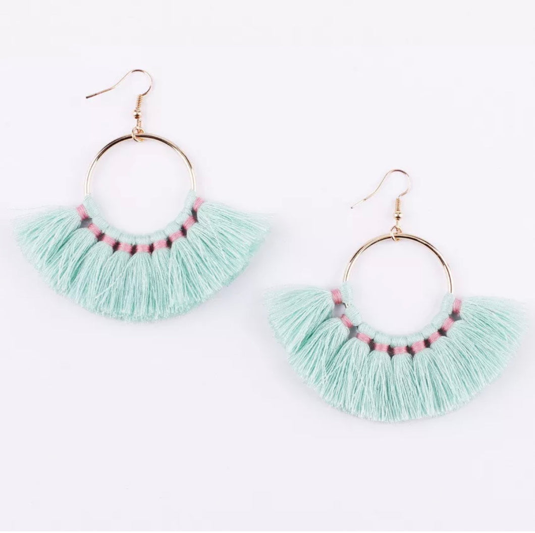 Kate Tassel Hoop Earrings Light Turquoise
