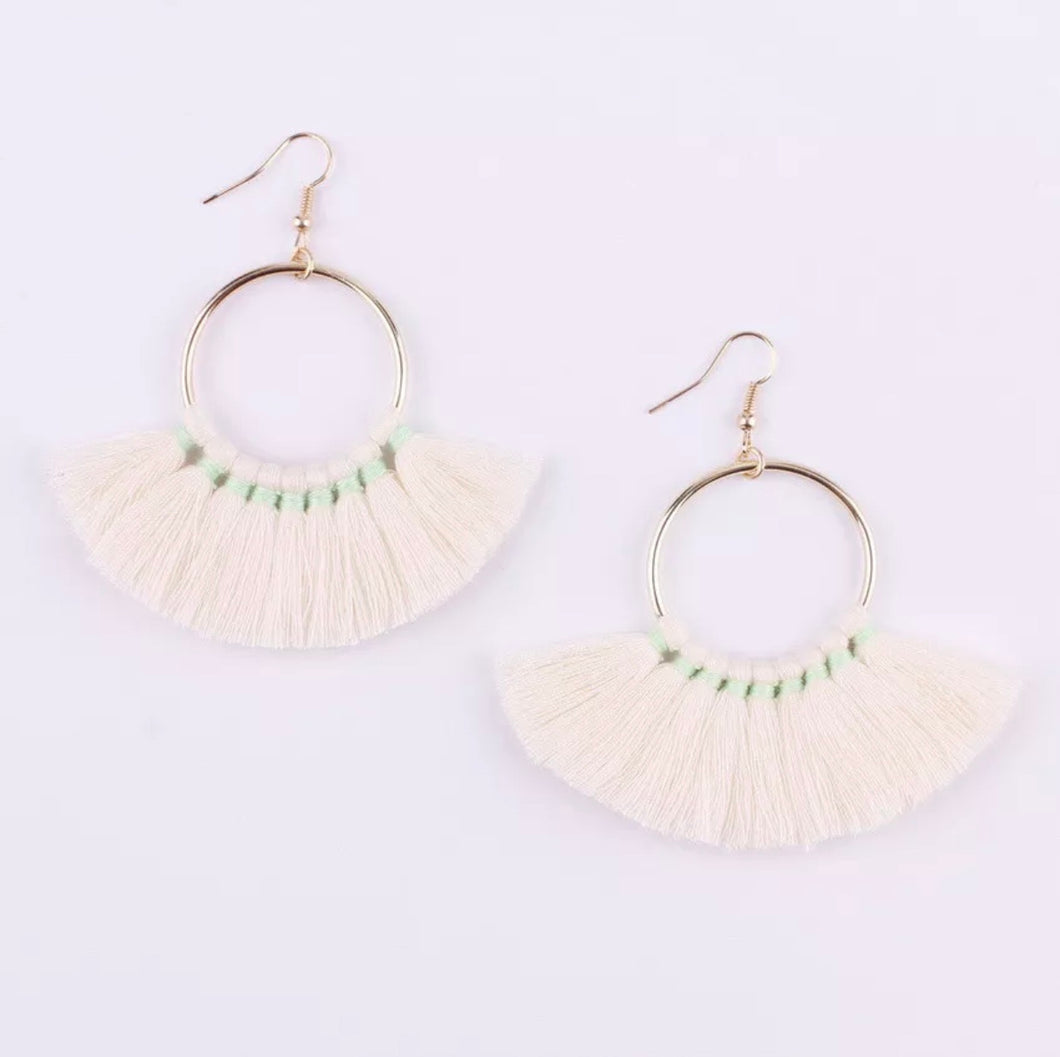Kate Tassel Hoop Earrings Ivory