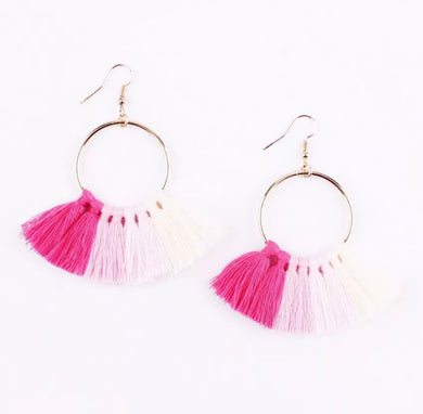 Kate Tassel Hoop Earrings Multi Pink