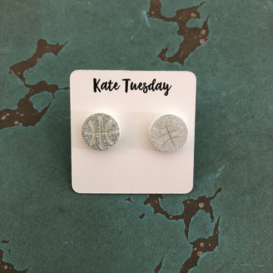White Silver Glitter Basketball Earrings