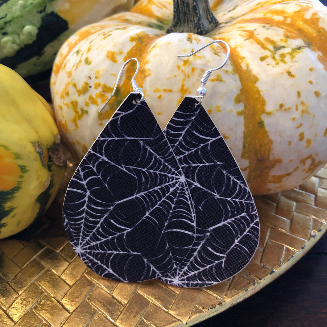 Black and White Spider Web Halloween Leather Hang Earrings