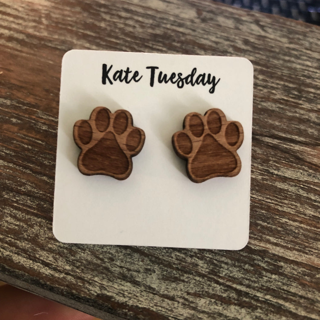 Dog Paw Real Wood Engraved Earrings