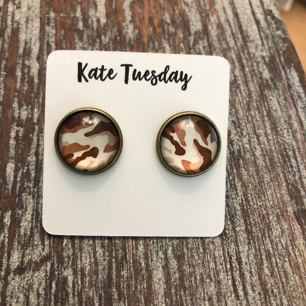 White Brown Camo Earrings Camouflage