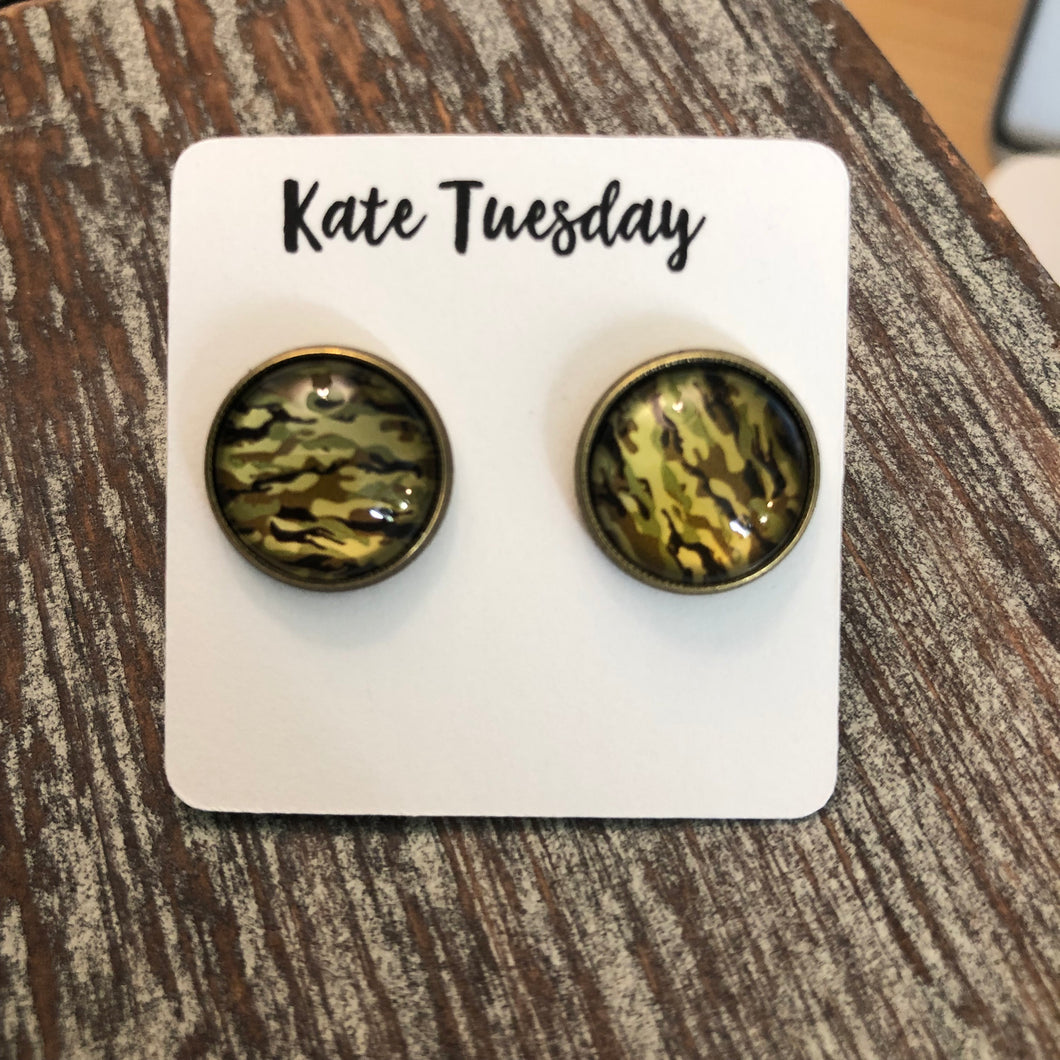 Green Camo Earrings Camouflage