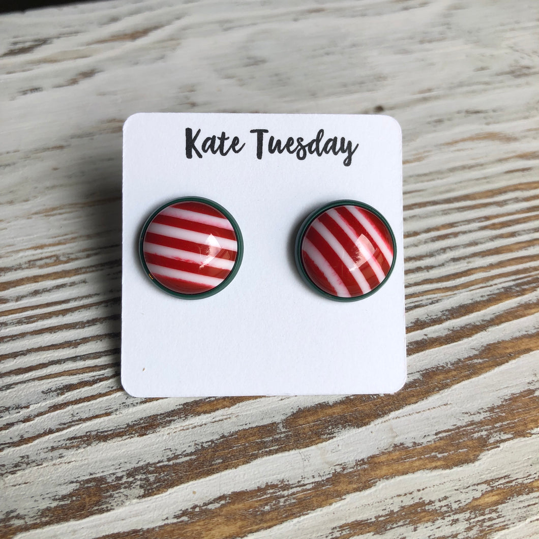 Red White Green Stripe Holiday Christmas Earrings