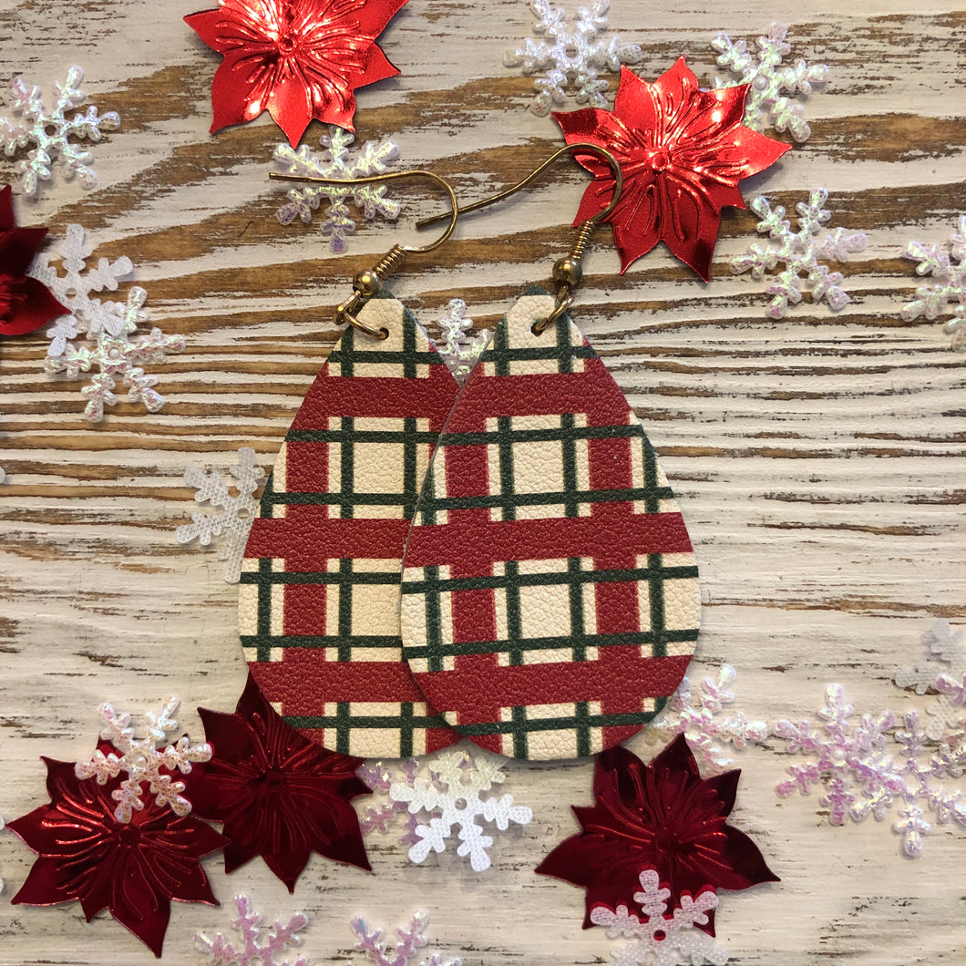 Red White Green Plaid Holiday Leather Earrings