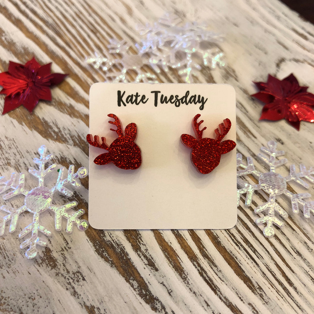 Red Reindeer Holiday Acrylic Stud Earrings