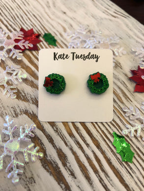 Green + Red Bow Wreath Acrylic Stud Holiday Earrings