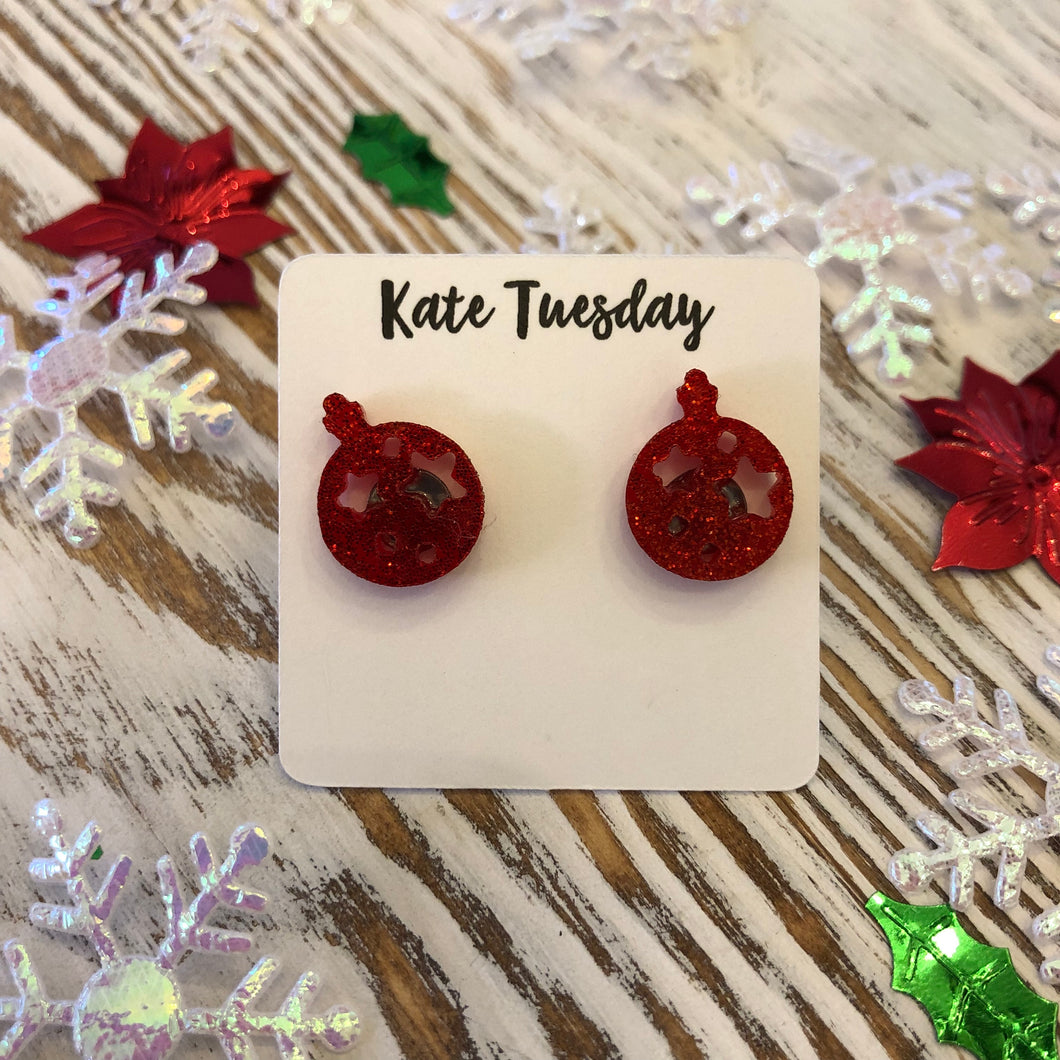 Red Glitter Ornament Holiday Acrylic Stud Earrings