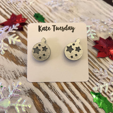 Silver Glitter Engraved Ornament Holiday Acrylic Stud Earrings